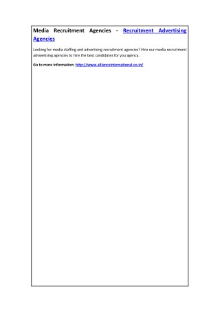 Media Recruitment Agencies - Recruitment Advertising Agencies
