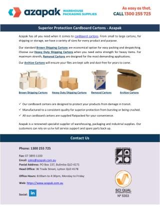 Superior Protection Cardboard Cartons – Azapak