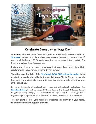 Celebrate Everyday as Yoga Day