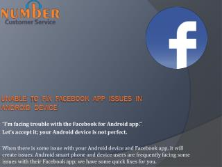 Unable to Fix Facebook App issues in Android Device