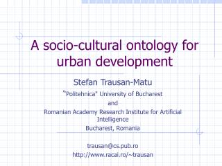 A socio-cultural ontology for urban development