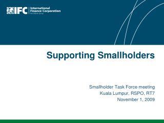 Smallholder Task Force meeting Kuala Lumpur, RSPO, RT7 November 1, 2009
