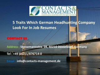 5 Traits Which German Headhunting Company Look For In Job Resumes