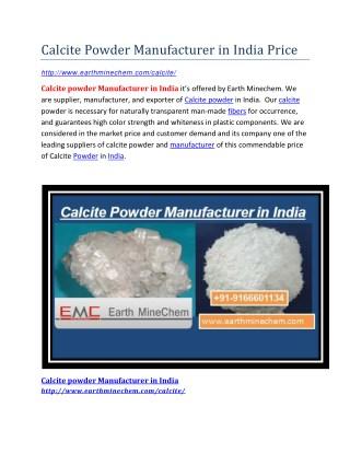 Calcite Powder Manufacturer in India Price