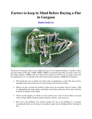 Factors to keep in mind before Buying a Flat in Gurgaon