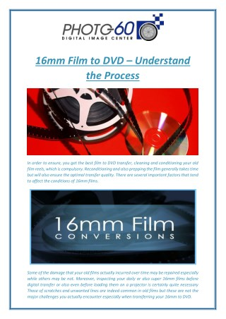 16mm Film to DVD – Understand the Process