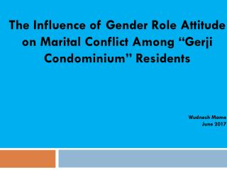 "The Influence of Gender Role Attitude on Marital Conflict Among ""Gerji Condominium"" Residents"