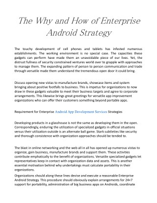 The Why and How of Enterprise Android Strategy