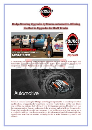 Dodge Steering Upgrades by Source Automotive-Offering the Best in Upgrades for RAM Trucks