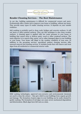Render Cleaning Services – The Best Maintenance