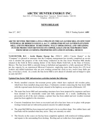 Arctic Hunter Energy Inc. (TSX-V: AHU) NEWS RELEASE on June 21st, 2017