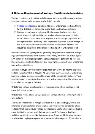 A Note on Requirement of Voltage Stabilizers in Industries