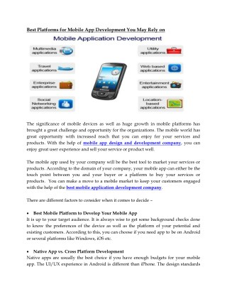 Best platforms for mobile app development you may relay on