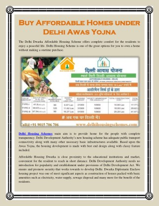 Buy Affordable Homes under Delhi Awas Yojna