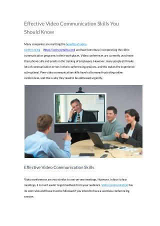 ezTalks: Effective Video Communication Skills You Should Know