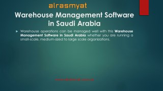Offering customizable dashboards with Alrasmyat Warehouse Management Software in Saudi Arabia