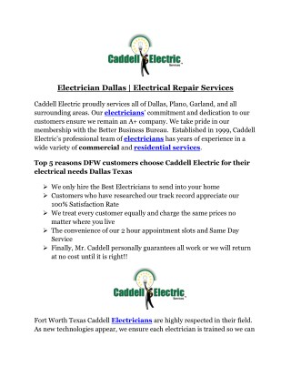 Electrician Dallas | Electrical Repair Services