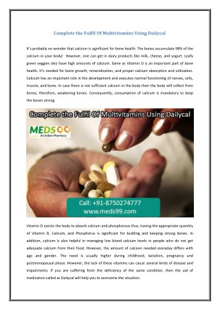 Complete the Fulfil Of Multivitamins Using Dailycal