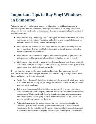 Important Tips to Buy Vinyl Windows in Edmonton