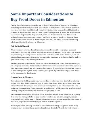 Some Important Considerations to Buy Front Doors in Edmonton