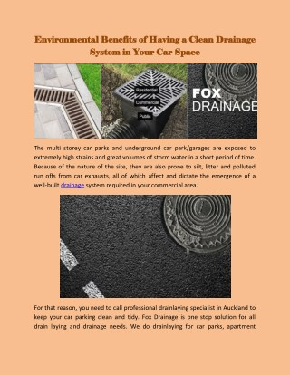 Environmental Benefits of Having a Clean Drainage System in Your Car Space