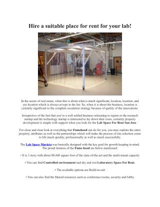 Hire a suitable place for rent for your lab
