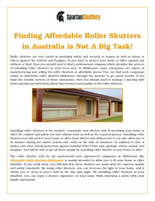 Finding Affordable Roller Shutters in Australia is not a Big Task