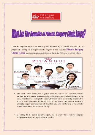 What Are The Benefits of Plastic Surgery Clinic Korea