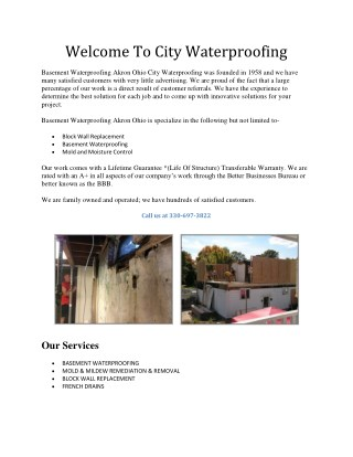 Welcome To City Waterproofing