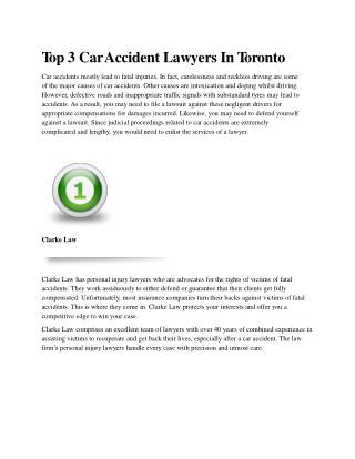 Top 3 Car Accident Lawyers In Toronto