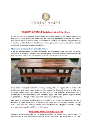 BENEFITS OF USING Reclaimed Wood Furniture
