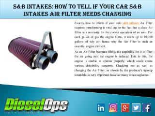s&b intakes: How to Tell If Your Car S&b intakes Air Filter Needs Changing