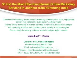 50 Get the Most Effective Internet Online Marketing Services in Jodhpur from eBranding India