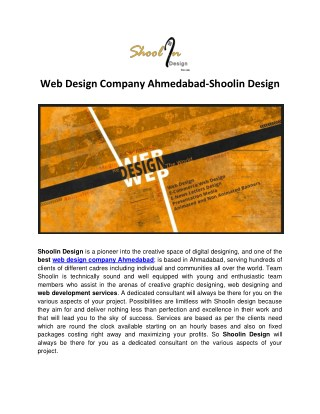 Web Design Company In Ahmedabad - Shoolin Design