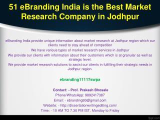 51 eBranding India is the Best Market Research Company in Jodhpur