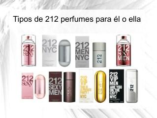 Tipos de 212 perfumes para él o ella