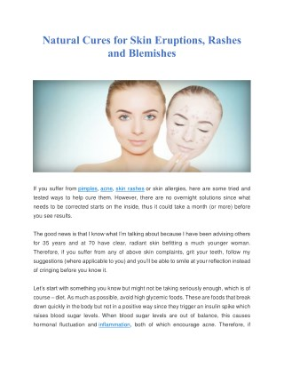 Natural Cures for Skin Eruptions, Rashes and Blemishes
