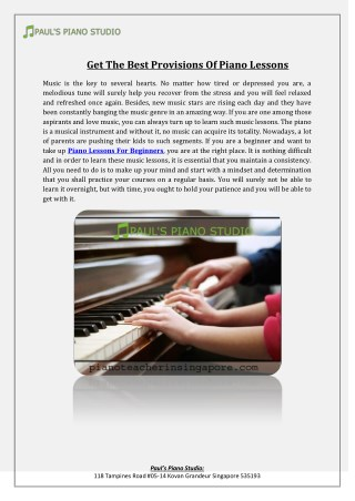 Get The Best Provisions Of Piano Lessons