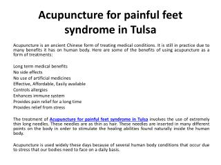 Acupuncture - Conditions Commonly Treated