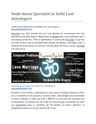 Vashikaran Specialist in Delhi Love Astrologers