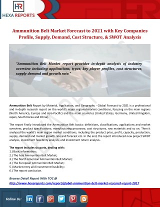Ammunition Belt Market Forecast to 2021 with Key Companies Profile, Supply,Demand,Cost Structure,and SWOT Analysis