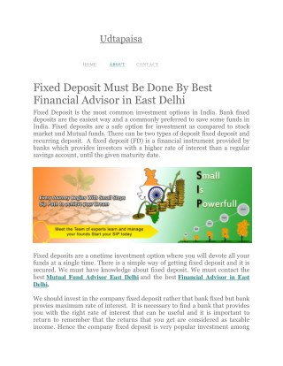 Fixed Deposit Must Be Done By Best Financial Advisor in East Delhi