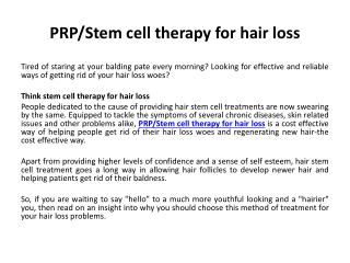 Smart Hair Stem Cell Therapy Alleviates Your Concerns for Hair Loss