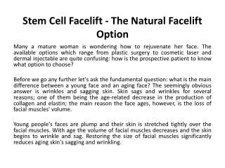 Stem Cell Facelift - The Natural Facelift Option