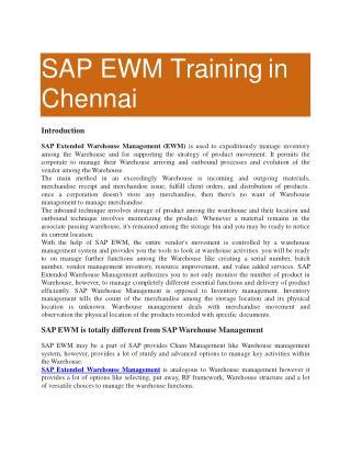 SAP EWM Training in Chennai