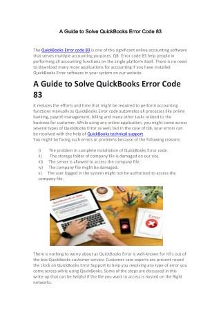 A Guide to Solve QuickBooks Error Code 83