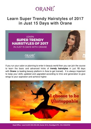 Learn Super Trendy Hairstyles of 2017 in Just 15 Days with Orane