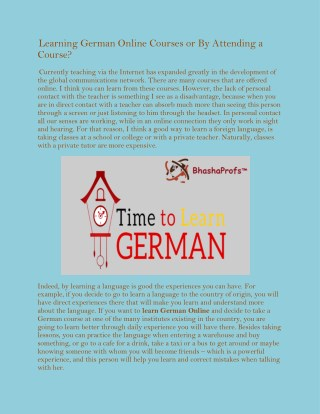 Learning German Online Courses or By Attending a Course?