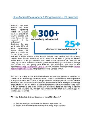 Hire Dedicated android app developers – IBL Infotech