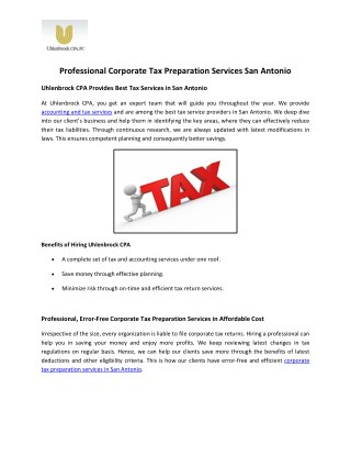 Professional Corporate Tax Preparation Services in San Antonio